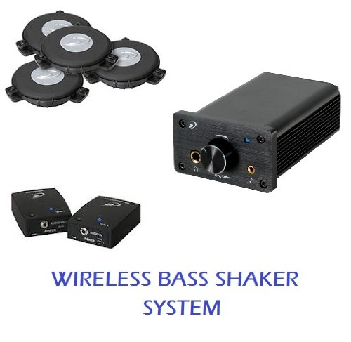 Wireless Home Theater Bass Shaker System for One Seat- Four mini bass shakers with wireless transmitter/receiver and compact power amplifier