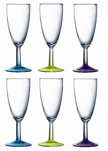 Lumiarc 9208312 Crazy Colors Lot de 6 Flûtes à Champagne Couleurs Assortis 14,5 cl 19 x 13 x 17 cm