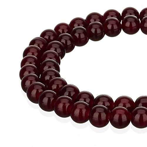 RUBYCA 1 Strand 6MM Jade Imitation Round Painted Coated Glass Bead for DIY Jewelry Making Dark Red (The Glass Furnace compare prices)