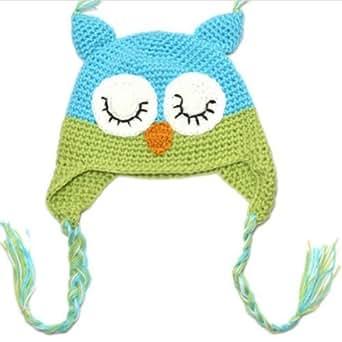 Zehui Beautiful Toddler Baby Girls Boys Owls Animal Crochet Knit Woolly Cap Ear Hat Green