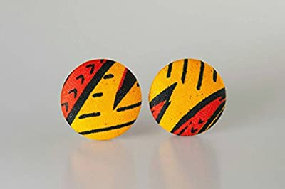 "Fabric button earrings (1 1/2""), African fabric button earrings, Ankara fabric button earrings, Fabric Earrings, Button earrings (Asaa)"
