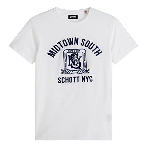 Schott Uomo Tshirt Maniche Corte Taglia 2 Bianco
