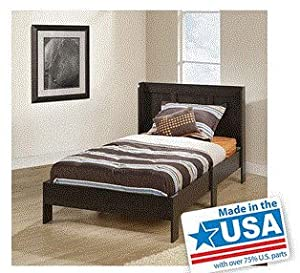Sauder Parklane Twin Platform Bed with Headboard, Cinnamon Cherry - Guestroom Children's Bedroom Bed Set for Relaxed Sleeping - Engineered Wood Construction by Sauder Parklane