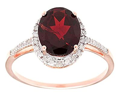 10k Rose Gold 3ct Oval Garnet and Diamond Ring
