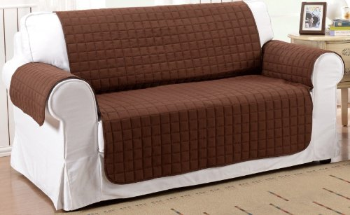 2Pc Soft Micro Suede Couch Sofa And Loveseat Pet Furniture Slip Covers (Brown) front-808726