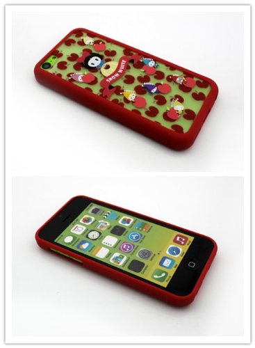 Nine States. High Quality (3 In 1) Lovely Snow White And The Seven Dwarfs With Polka Dot Apples Transparent Hard Case Shell For Apple Iphone 5C (Red)