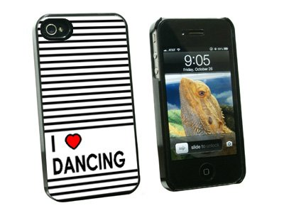 Graphics and More I Love Heart Dancing Snap-On Hard Protective Case for Apple iPhone 4/4S - Non-Retail Packaging - Black sheli laptop motherboard for hp dv7 7000 682037 001 682037 501 hm77 630m 2g non integrated graphics card