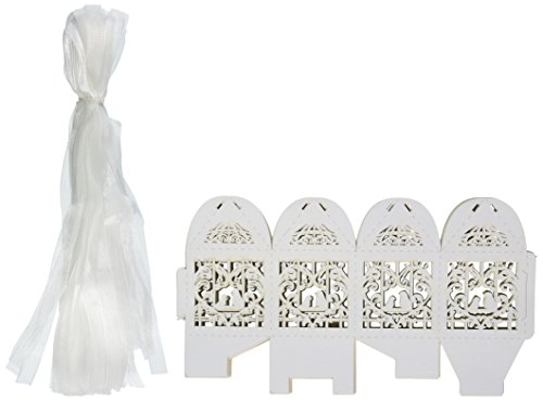 50 Pack White Love Birds Laser Cut Favor Candy Box Bomboniere with Ribbons Bridal Shower Wedding Party Favors