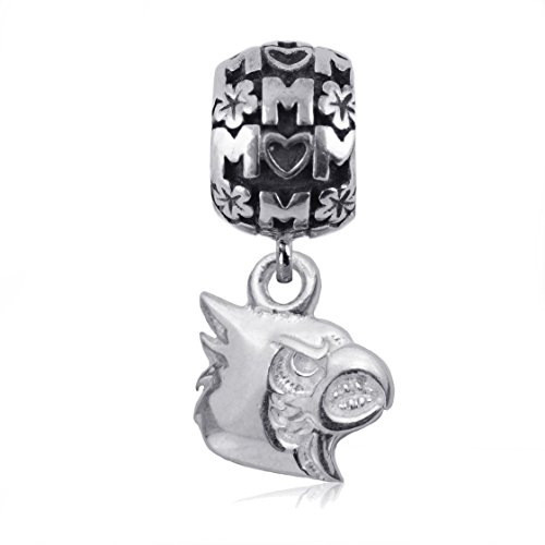 NCAA Louisville Cardinals .925 Sterling Silver Mom Charm Bead, Louisville Jewelry
