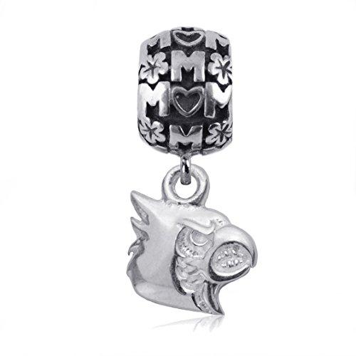NCAA Louisville Cardinals .925 Sterling Silver Mom Charm Bead, Louisville Jewelry