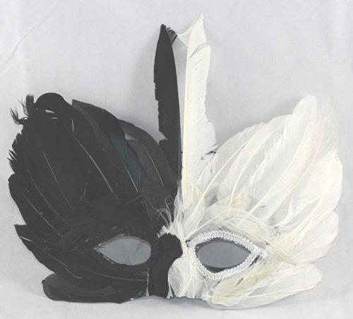 Black and White Deluxe Feather Mask