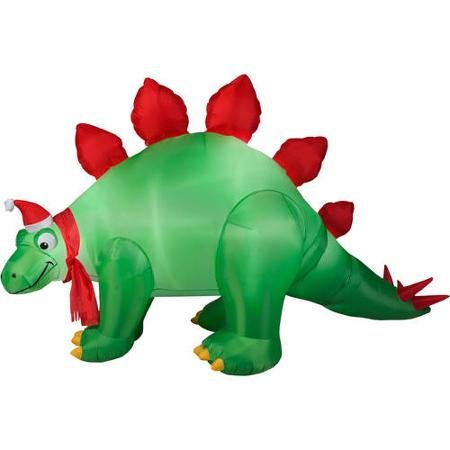 9 animated airblown inflatable stegosaurus christmas inflatable material 80 percent fabric 10 percent metal 10 percent plastic deflates for easy storage - Christmas Outdoor Inflatables