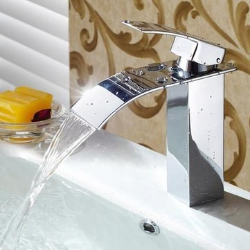 Bathroom Waterfall Sink Faucet Single-lever Mixer Tap Hot Cold Brass Faucets