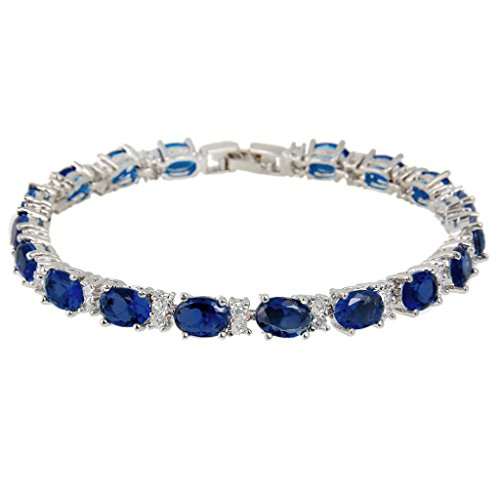 EVER FAITH® Silver-Tone Zircon Elegant Row Roman Tennis Bracelet Sapphire Color