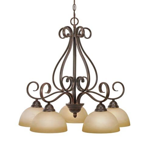 B001CM4FWO Golden Lighting 1567-D5 PC Riverton Five Light Nook Chandelier, Peppercorn Finish