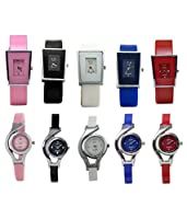 Codice Analogue Multicolour dial Combo Offer of 10 Glory Watches for Women and Girls
