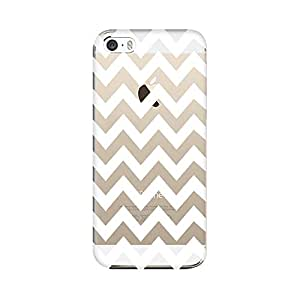 QRIOH iPhone SE [Transparent Back Cover] Printed Design [Scratchproof + Protective]- White Chevron All Over Transparent Case for iPhone SE