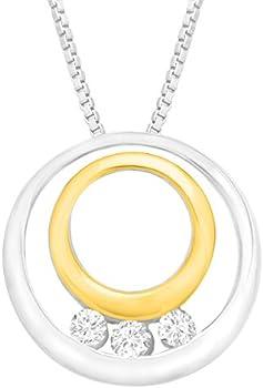 Finecraft 1/5 ct Diamond Three-Stone Circle Pendant