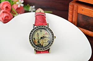 Women Ladies Eiffel Tower Arc DE Triomphe Vintage Bronze Leather Jewelry Watch Red