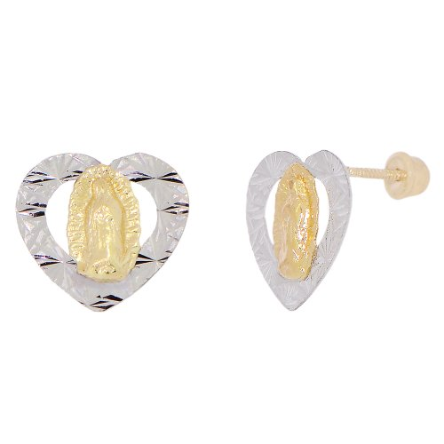 14k Yellow Gold White Rhodium Accents, Virgin Mary Heart Design Religious Stud Screw Back Earring Sparkly Cuts