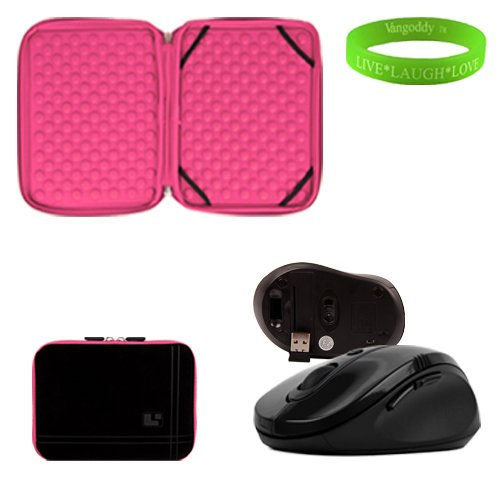 13 inch Black and Blush Pink Laptop Sleeve for the Fujitsu Lifebook T901 Ultrabook with a small pocket. Shock absorbent bubble padding to prevent minor damages to your Ultrabook. + Black Gloss Wireless Mouse + Vangoddy Live Laugh Love Bracelet