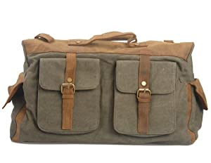 Kattee Canvas and Leather Weekender Duffel Bag