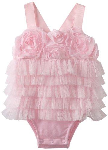 Mud Pie Baby-Girls Newborn Chiffon Rosette Bubble, Pink, 9-12 Months front-27687