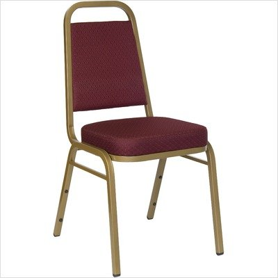 """2.5"""" Hercules Series Trapezoidal Back Stacking Banquet Chair Upholstery / Frame: Navy Patterned Fabric / Gold Frame"""