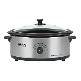 Nesco 4816-25PRG Professional 6-Quart Stainless Steel Roaster Oven with Glass Cover, Porcelain Cookwell
