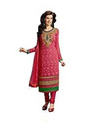 FadAttire Embroidered Pure Bambr Suit, Semi Stitched Suit-Red-FAKM04