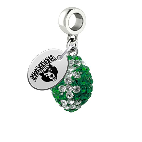 Baylor Bears Crystal Football Drop Charm Fits All European Style Bracelets