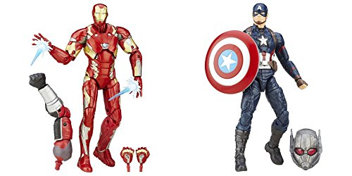 Super Hero Iron Man Mark 46 Figure vs Legends Series Captain America 6-Inch Hero Series Action Figures Toys, 2 Pack