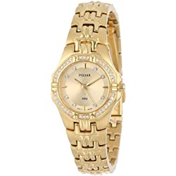 Pulsar Crystal Accented Gold-Tone Stainless Steel Women's Watch (PTC390)