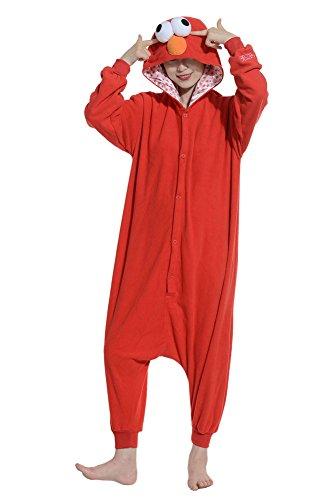 Fandecie Unisex Adulto Anime Onesie Cosplay Halloween Costume Kigurumi Pigiama Tutina con Cappuccio Homewear Sesame Street Rosso Adatto ad Alta 160-175cm