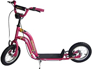 """iScoot Pink Push Scooter Bike with Monster Wheels (12"""") - The ultimate Push Bicycle for girls / boys / kids and children"""