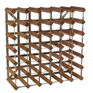 Winware Dark Oak Wine Rack 36 Bottle 6 X 6 Dark Oak Rack With Wall Fixings And Separate Stacking Board Fully Assembled by Winware