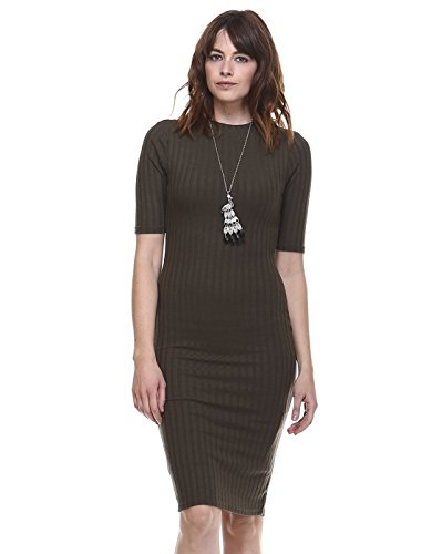 AMIE Finery Boutique Midi Dress With Stylish Texture For Everday Wear Large Olive