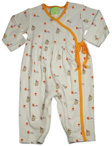 Snopea - Baby Boys Long Sleeve Beary Babes Coverall, White, Orange 29320-12Months front-535609