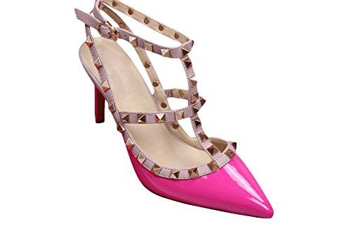 wanmi pupms da donna Gold-Tone ROCKSTUD Slingback Rosered brevetto in pelle punta scarpe sandali tacco alto, donna, Rosered, 41