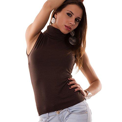Toocool - Lupetto smanicato donna collo alto dolcevita sottogiacca top maglia CC25[MARRONE]