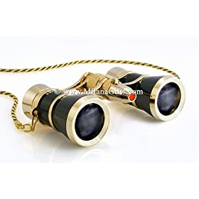 Milana Optics - Opera Glasses - Renaissance - With Chain and Flashlight - Black Finish with Golden Rings