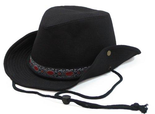 チロリアンテープキャンバス無地テンガロンハット(大きい帽子最大65cm)