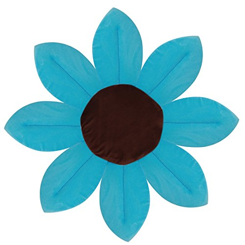 Lazybaby Baby Bath Mat Lotus Flower Play Mat Bathroom Safety Sky Blue