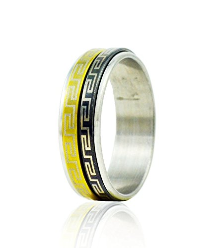 "ALPHAMAN ""Circle of Maze \"" Tricolour Silver Ring (multicolor)"
