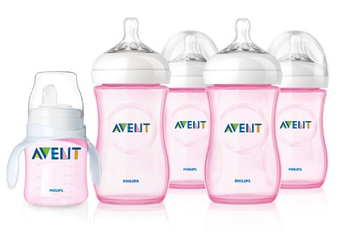 Philips Avent Pink Natural 4Pk Bottles 9Oz W/ Pink Trainer Cup