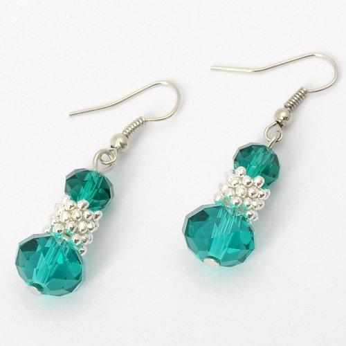 Fashion Silvery Bunch of Beads Cyan Crystal Drop Loop Dangle Earrings Jewelry