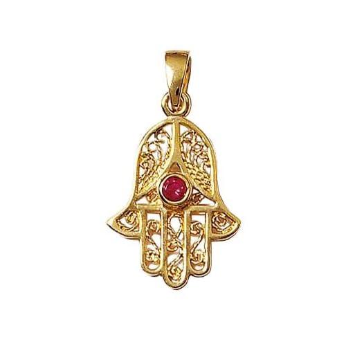 Anhänger Hand Fatima Myriam Filigree Khamsa Zirkonia Rot Gold