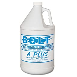 Bolt Industrial Liquid Laundry Detergent, 1 gal Bottle - four one-gallon bottles.