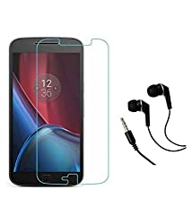 Motorola Moto G4 Plus Compatible Tempered Glass Screen Protector (Antishock, Curved Edged) (Pack of 2, Only Front Transparent) (Combo Offer, get a VJOY EP-10 Champ in the ear earphone, with mic (RED) Compatible with Motorola Moto G4 Plus worth Rupee 599/- absolutely free with Screen Protector)