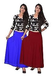 Ace Long Skirt-Meroon,Blue